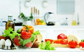 Картинка листья, масло, еда, яйца, сыр, хлеб, кухня, перед, овощи, помидоры, огурцы