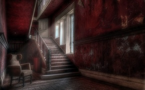 Картинка кресло, окно, лестница