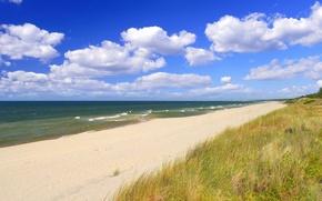 Обои волны, небо, пляж, облака, песок