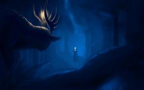 Картинка лес, животные, ночь, арт