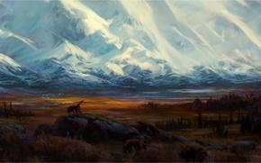 Картинка горы, снег, волк, птицы, нарисованный пейзаж, зверь, лес, долина, камни