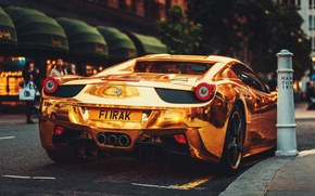 Картинка Феррари, Зад, Италия, Ferrari, Золотой, 458, Суперкар, Italia, Supercar, Gold, Rear