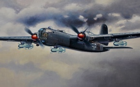 Картинка war, art, painting, aviation, ww2, german bomber, Heinkel He 177