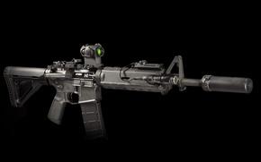 Картинка оружие, фон, фонарик, винтовка, глушитель, карабин, штурмовая, полуавтоматическая