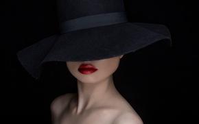 Картинка фон, портрет, шляпа, макияж, The Hat