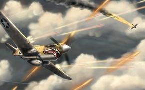 Картинка война, акула, бой, самолёты, Aces High, баталиянебо