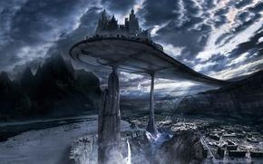 Картинка горы, город, будущее, мрак