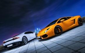 Картинка Lamborghini, City, Gallardo, Car, Moscow, Photo, Huracan, Ligth, Nigth
