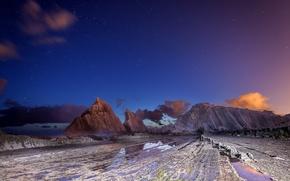 Обои ночь, скалы, закат, сумерки, небо