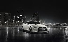 Картинка ночь, город, Nissan, GT-R, небоскрёбы, R35