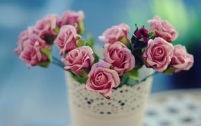 Картинка цветы, фон, widescreen, обои, розовая, роза, розы, размытие, ваза, wallpaper, цветочки, широкоформатные, background, полноэкранные, HD …