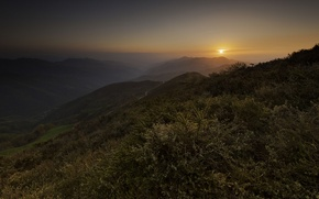 Картинка солнце, закат, горы, сумерки
