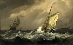 Обои картина, шторм, корабли, моряки, буря, живопись, море, волны