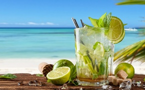 Картинка коктейль, summer, beach, fresh, sea, paradise, drink, mojito, cocktail, lime, мохито, vacation, mint, tropical