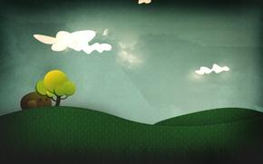 Картинка небо, абстракция, дерево, коллаж, вектор, арт, травка, мультяшка