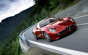 Картинка дорога, горы, красный, скорость, Alfa Romeo 8С