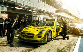 Картинка Mercedes-Benz, Race, AMG, SLS, GT3, Yellow, Team, Russian, Stop, Pit, Viatti