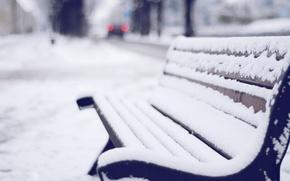Картинка зима, снег, скамейка, улица, скамья