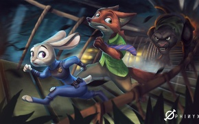 Обои Nick Wilde, art, judy hopps, Disney, Zootopia