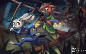 Картинка Nick Wilde, art, judy hopps, Disney, Zootopia