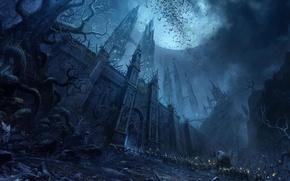 Картинка замок, луна, мрак, воин, войско, пленники