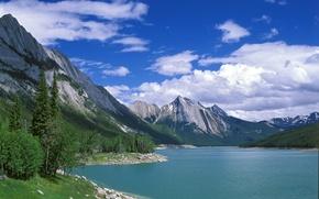 Картинка вода, деревья, горы, природа, озеро, пейзажи, красота, Canada, виды, озёра, Medicine Lake, Jasper National Park
