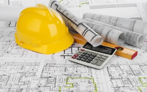 Картинка helmet, blueprints, calculator, civil engineering