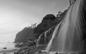 Обои море, водопад, черно-белый, 153, берег, камни