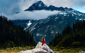 Картинка Listen to the Mountains, девушка, горы, пейзаж, Lizzy Gadd
