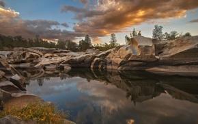 Картинка природа, озеро, камни, США, lake isabella, Kern River Valley