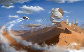 Картинка город, пустыня, desert, outpost