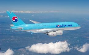 Картинка Flight, Небо, Airbus, A380, Aircraft, Облака, Clouds, Sky, Полёт, Korean Air, Самолёт