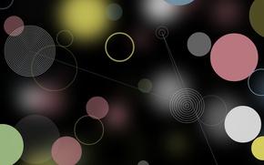 Картинка черный, фон, абстракция, голубой, блики, круги, розовый