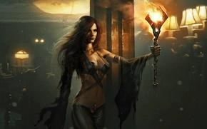Обои девушка, комната, огонь, арт, факел, колонна, ожоги