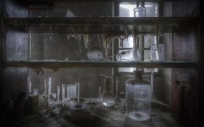 Картинка лаборатория, банки, полки