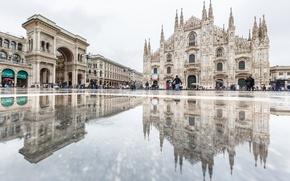 Картинка отражение, площадь, Италия, собор, Милан, Дуомо, пассаж