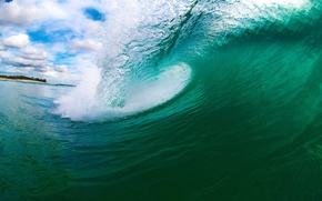 Картинка Небо, Вода, Природа, Облака, Океан, Пляж, Лето, Берег, Волна, Обои, Wallpapers, Стихия, Multi-monitors