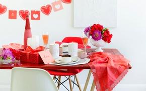 Картинка любовь, цветы, праздник, коробка, подарок, сердце, кофе, свечи, love, напитки, box, heart, flowers, gift, holiday, …