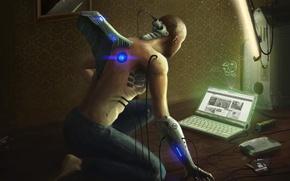 Картинка провода, мужчина, ноутбук, андроид, дискеты, жесткий диск