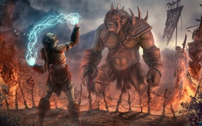 Картинка fantasy, magic, armor, dead, art, background, body, troll, orc, heads