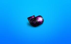 Обои кино, минимализм, cinema, пленка, кинопленка, синеватый фон, синема
