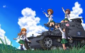 Картинка лето, солнце, девочки, аниме, арт, танк