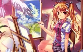 Картинка улыбка, бумага, крылья, Девочка, сидит, кисть, мольберт