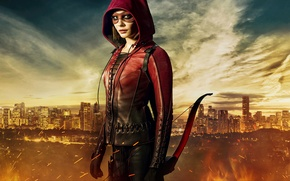 Картинка Girl, City, Red, Clouds, Sky, Fire, Hero, Beautiful, Flame, the, Wallpaper, Super, Year, EXCLUSIVE, Weapons, ...