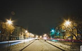 Картинка car, снег, машины, ночь, city, город, lights, Улица, фонари, аллея, Night, Snow, Street, alley, Калуга, …