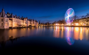 Картинка деревья, ночь, огни, река, дома, фонари, Нидерланды, набережная, Hague