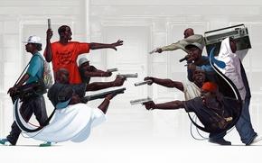 Обои пистолет, оружие, рэп, gangsta, rap, hip hop, boombox, Michal Lisowski