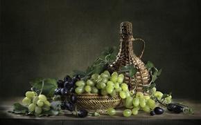 Картинка бутылка, виноград, натюрморт