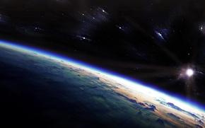 Картинка звезды, рассвет, вселенная, планета, атмосфера