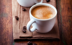 Картинка пена, стол, кофе, зерна, чашки, белые